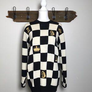St John Sweater Chess Theme Styling Checkerboard